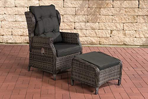 CLP Polyrattan-Sessel Breno Mit Sitzpolster Und Fußhocker I Relaxsessel Mit Verstellbarer Rückenlehne, Farbe:grau-meliert, Polsterfarbe:Anthrazit