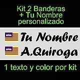 Vinilin - Pegatina Vinilo Bandera Baleares + tu Nombre - Bici, Casco, Pala De Padel, Monopatin, Coche, etc. Kit de Dos Vinilos (Negro)