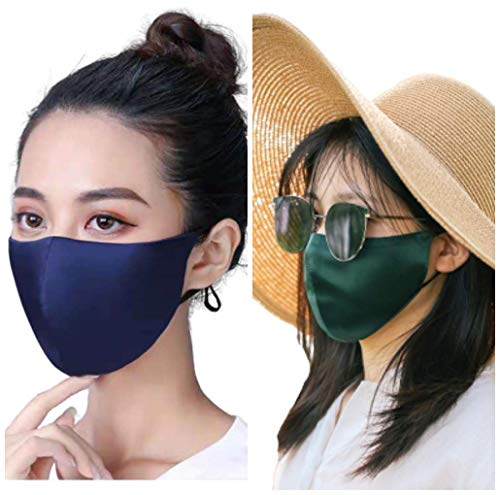 100% Mulberry Silk Face Mask for Women Men Hypoallergenic Masks for Adults Acne Prone Skin Anti maskne Thin Breathable Comfortable-Navy Blue&Green
