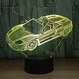 Veilleuse 3D veilleuse voiture convertible 7 couleurs télécommande USB LED lampe de table cadeaux de Noël
