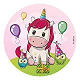 Dekora - decoracion tartas de cumpleaños infantiles en disco de oblea de unicornio baby - 20 cm