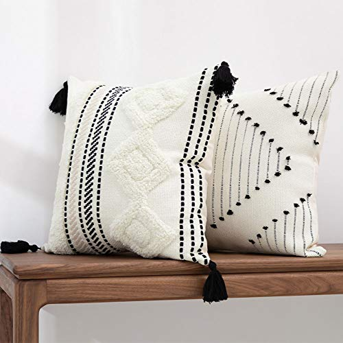 blue page Morocco Boho Decorative Diamond Pillow Covers 18X18 - Set of 2 Comfy Tufted Pillow Cases, Farmhouse Cushion Case, Soft Square Pillowcase for Couch Bedroom Office Car (Black Cream)