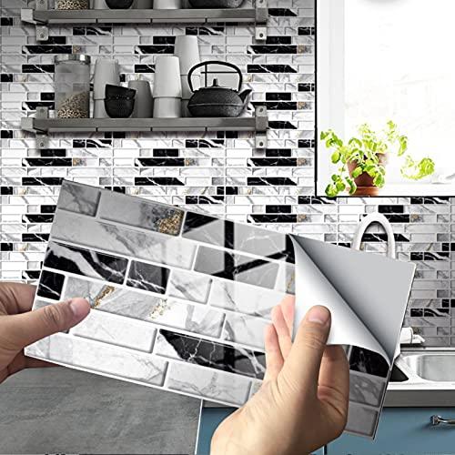 RAILONCH 12/24 unidades de adhesivos para pared posterior de cocina, azulejos de PVC, impermeables, para cocina, baño y más (estilo 9,12 unidades)