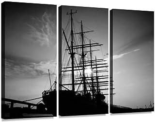 船 夕景 モノクロ 帆船 乗り物 海王丸 公園ポスター パネル 現代壁の絵 壁掛け 部屋飾り 背景絵画 壁アート 完成品 3枚セット すぐ飾る!
