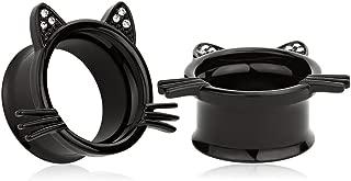 (1 Pair Cute Black Kitten Ear Plugs Tunnels Gauges Stretcher Piercings