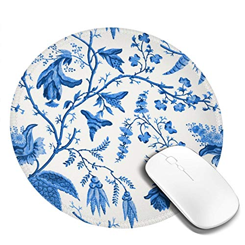 Mouse Pad Chinese Style Powder Blue Chinoiserie Round Anti Slip Rubber...