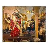 ZQXXX Joaquin Sorolla 《Mujeres bailando flamenco en el café Novedades en Sevilla》 Lienzo Pintura Decoración para el hogar -50x75cm Marco de madera