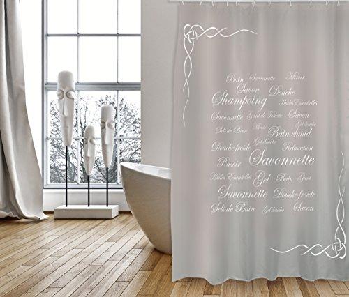 """MSV Cotexsa by Premium Anti-Schimmel Textil Duschvorhang - Anti-Bakteriell, waschbar, 100prozent wasserdicht, mit 12 Duschvorhangringen - Polyester, """"Grasse"""" Taupe 180x200cm – Made in Spain"""