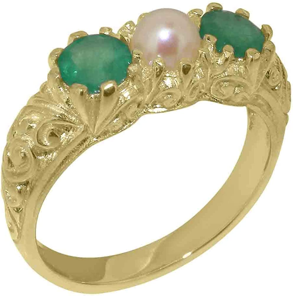 14k Yellow Gold Cultured Pearl & Emerald Womens Trilogy ring - Sizes 4 to 12 Available