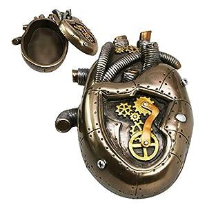 nugroho_mys Steampunk Heart Jewelry Box 6″ Length Home Office Decor Fantasy Figurine Statue
