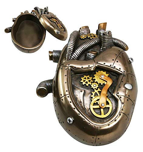 "nugroho_mys Steampunk Heart Jewelry Box 6"" Length Home Office Decor Fantasy Figurine Statue 3"