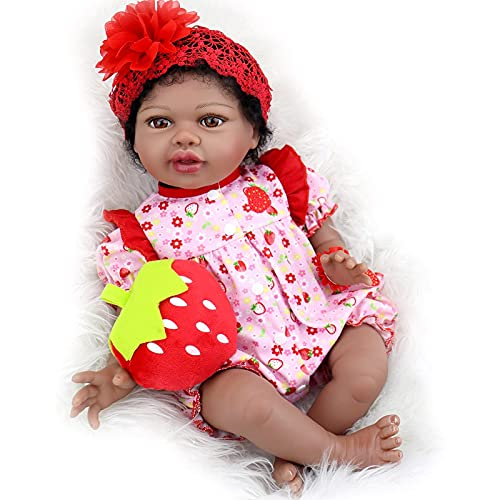 Aori Reborn Baby Dolls 22 Inch Realistic Black Reborn Dolls Lifelike Weighted African American Newborn Baby Girls with Pink Clothes and Strawberry Accessories Great Gift Set for Girls Age 3+