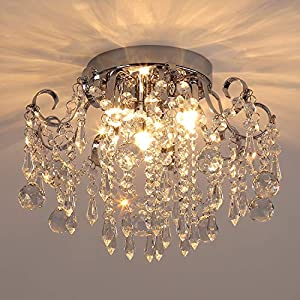 Q&S Small Crystal Chandelier Flush Mount Ceiling Light 3 Lights Modern Chrome Iron Raindrop Crystal Ceiling Fixture for Bedroom Hallway Closet Entryway Stairs