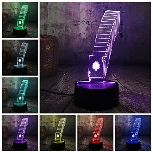 Kaarten spelen nachtlampje 3D tafellamp illusie, 7 kleuren veranderende touch switch slaapkamer eettafel bureau decoratie lampen