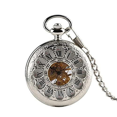 DIEFMJ Reloj de Bolsillo Flores Huecas Reloj de Bolsillo mecánico Viento Manual Retro Exquisitos números Romanos Relojes de Bolsillo con Cadena