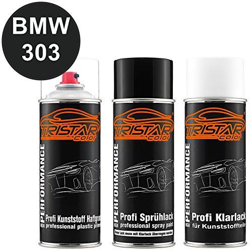 TRISTARcolor Autolack Spraydosen Set für Kunststoff Stoßstange für BMW 303 Cosmosschwarz Metallic Haftgrund Basislack Klarlack mit Weichmacher Sprühdose