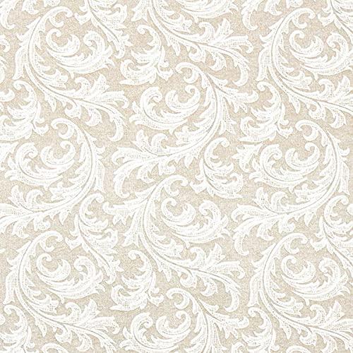 Dekostoff Canvas Ornamente – natur/weiss — Meterware ab 0,5m — STANDARD 100 by OEKO-TEX® Produktklasse II — zum Nähen von Sitzgelegenheit, Gardinen & Kissen/Tagesdecken