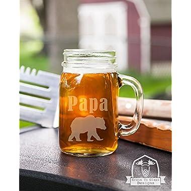 Papa Bear Mason Handled Jar Beer Mug Gift