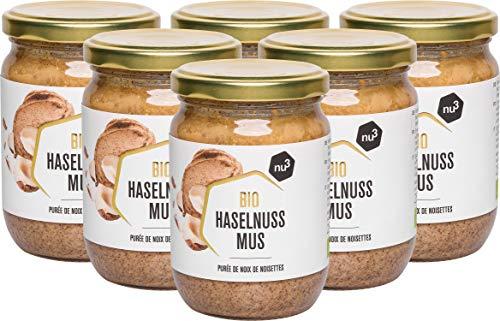 nu3 Purée de Noisettes Bio en Pot 6 x 250g - Noisettes de qualité crue sans sel, sucre ou huile ajoutés - Certifiée Agriculture biologique contrôlée - Pack XXL pour les restaurants - Factures avec TVA