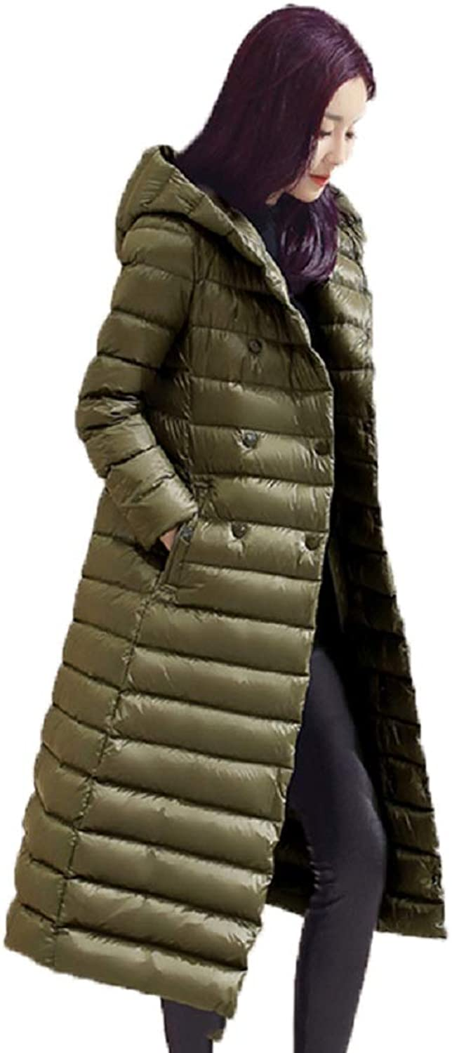 Aehoor Winter Womens Down Jacket Slim Long Hooded Warm Parker 90% Duck Down Coat