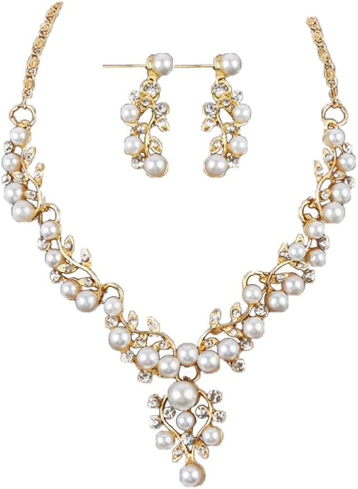 low-pricing Clearance Lady Wedding Wholesale Pearl Rhinestone Short Necklace+Earrings
