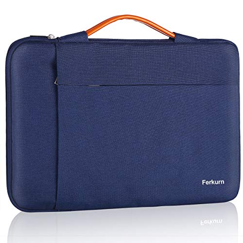 Ferkurn 15.6 15 14 Inch Laptop Sleeve Case Water Repellent Bag with Handle Compatible with MacBook Pro Touch Bar 2020,Chormebook 15, HP, Sony, Samsung, Protective Computer Carrying Case, Blue