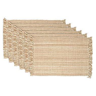 DII Tonal Fringe Placemat, Set of 6, Variegated Taupe - Perfect for Fall, Thanksgiving, Dinner Parties, Weddings, and Everyday Use