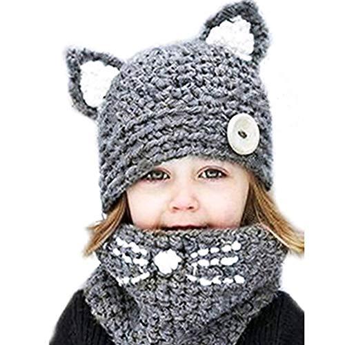 Tukistore Invierno Lana Tejida Sombreros Bufandas Lindo Gato Gorrita Tejida Bufanda de Punto Sombrero Gorra Bufanda para bebé niño niñas