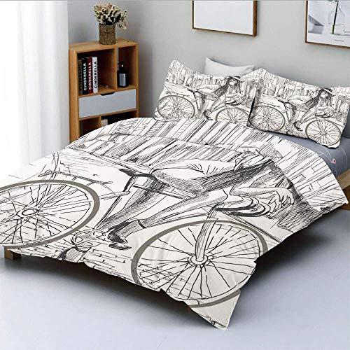 Juego de funda nórdica, Sexy Outrageous Young Lady, chicle en su bicicleta en la calle Ilustración incompleta Juego de ropa de cama decorativa de 3 piezas con 2 fundas de almohada, gris blanco, el mej