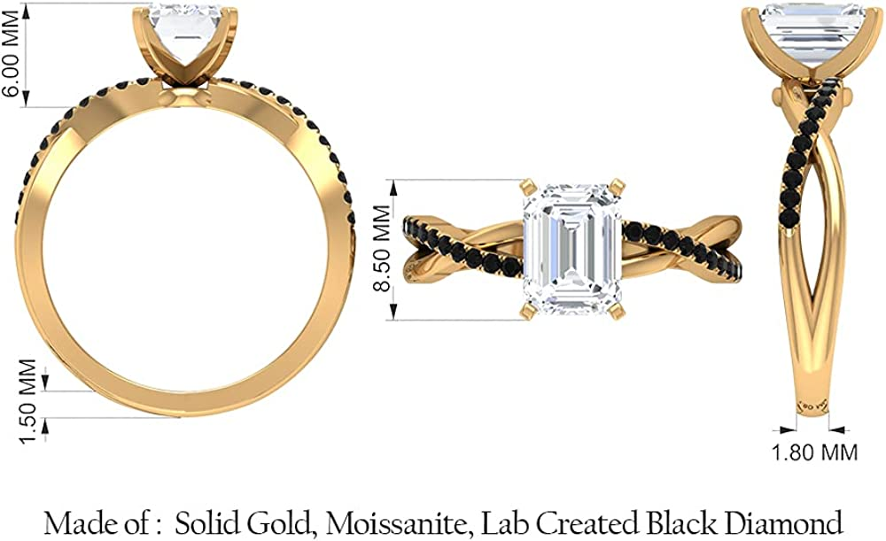 2 CT Octagon Cut Moissanite Solitaire Ring with Created Black Diamond Accent (D-VSSI Quality),14K White Gold,Moissanite,Size:US 10.00