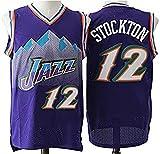 WSUN Camiseta De La NBA para Hombre - 12# John Stockton Camisetas De Baloncesto De La NBA - Camiseta Deportiva De Baloncesto Sin Mangas Transpirable De Ocio,L(175~180CM/75~85KG)