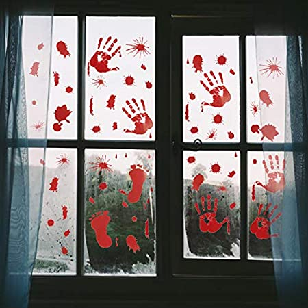 Bloody Window Clings - Scary and Easy Halloween Decoration Idea