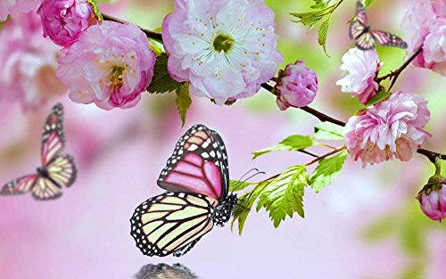 Rompecabezas Adultos 1000 Piezas-Flores y mariposas (75x50CM) Juego educativo de descompresión para niños-Bricolaje De Juguete Decoración de hogar de arte de regalo