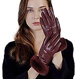 GSG Women Leather Gloves Rabbit Fur Touchscreen Driving Gloves Wine M