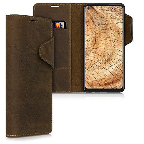 kalibri Hülle kompatibel mit Samsung Galaxy A21s - Leder Handyhülle - Handy Wallet Hülle Cover in Braun