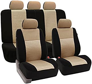FH Group FB060114 Universal Fit Trendy Elegance Full Set Car Seat Covers, Airbag Compatible and Split Bench,Beige/Black Color- Fit Most Car, Truck, SUV, or Van