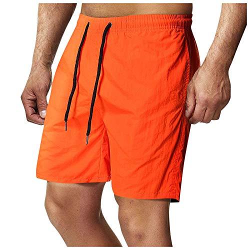 DIOMOR Men's Fashion Multifunction Outdoor Drawstring Cargo Shorts Elastic Waist Tactical Trunks Zipper Pockets Pants Orange