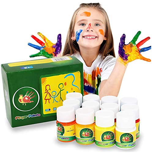 Lasten Washable Finger Paint Set for Kids Toddlers, Non-Toxic Eco-Friendly Bright Painting for Kids DIY Crafts Painting (12 Color)