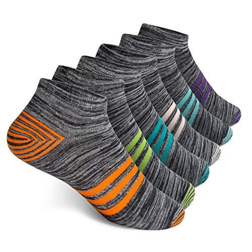 Vkele 6 Paar Sneaker Socken | Baumwolle classic | Orange Weiß Grün Lila Hellblau Lichtblau | Größe: 43 44 45 46