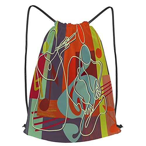 YMWEI Impermeable Bolsa de Cuerdas Saco de Gimnasio cartel del festival de jazz portada del cd Deporte Mochila para Playa Viaje Natación