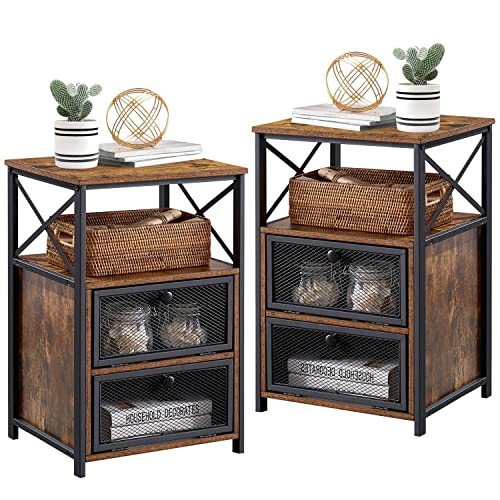 VECELO End Table with flip Drawer and X-Design Side, Modern Style and studry Nightstand for Bedroom Office, Easy Assembly,Set of 2, Retro Brown