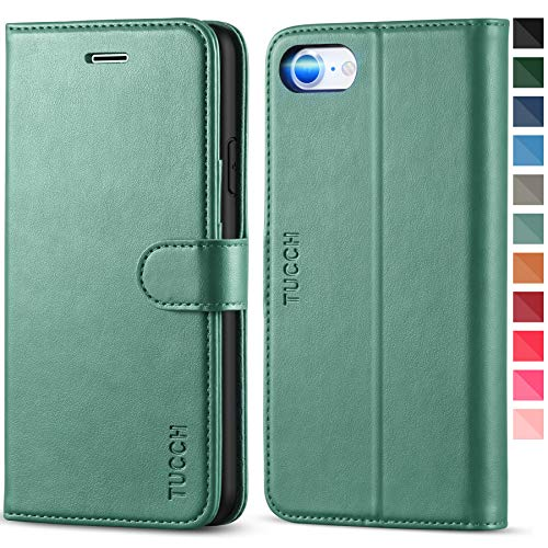 TUCCH iPhone SE 2020 Hülle, iPhone 8 Flip Case, Magnetische Handyhülle [Verdicktes TPU] [Standfunktion] [Kartenfach], Schutzhülle für iPhone SE2/8/7 (4,7 Zoll) Dunkelgrün
