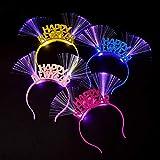ruiruiNIE 4Piezas / Set Niños Adultos Feliz año Nuevo Patrón Aro para el Cabello Luminoso Diadema con luz LED