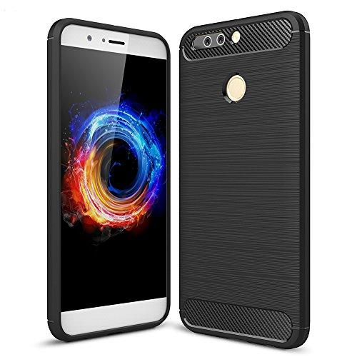 MSVII Silicone TPU Morbida Custodia Cover Case e Pellicola Protettiva Per Huawei Honor 8 Pro 5,7 pollici / Honor V9 (Nero)