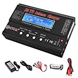 LiPo Battery Charger RC Car Balance Charger, 1S-6S Digital Discharger Battery Pack Charger 80W 6A for Li-ion Life NiCd NiMH LiHV PB Smart Battery,Deans Connectors + Power Supply