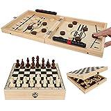 Juego de ajedrez de madera, plegable, con caja de almacenamiento, juego de madera para niños