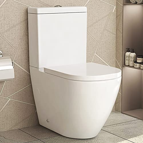 Abacus Modern White Close Coupled Rimless Toilet with Dual Flush Cistern Soft Close Seat Bathroom WC