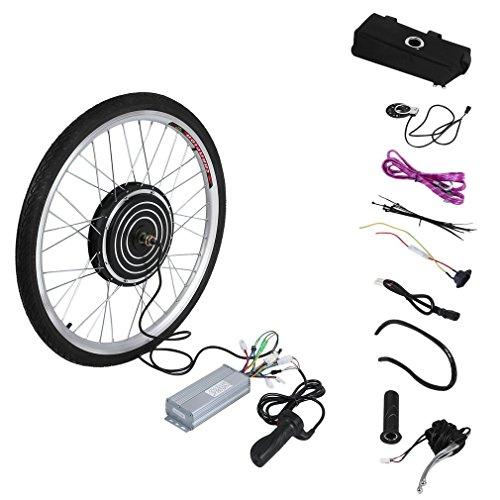Kit di Conversione Bici Elettrica 36V 500W, Ruota di Conversione 26' Bici Elettrica con indicatore di potenza e impugnatura dell'acceleratore, velocità massima 28 mph. Nero(ruota posteriore)
