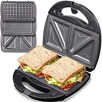 Yabano Sandwich Maker Waffle Maker Sandwich Grill 3-in-1 Detachable Non-stick Coating LED Indicator Lights Cool Touch Handle Anti-Skid Feet Black