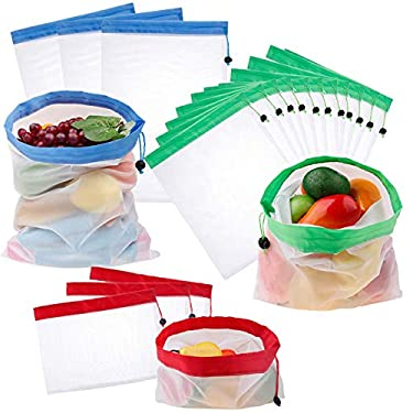 Reusable Produce Bags, Lightweight Washable Mesh Bag with Drawstrings,Eco Friendly Bags for Grocery Shopping Storage Fruit Vegetable Toys(Set of 12 PCS) (4 Small 4 Medium 4 Large)